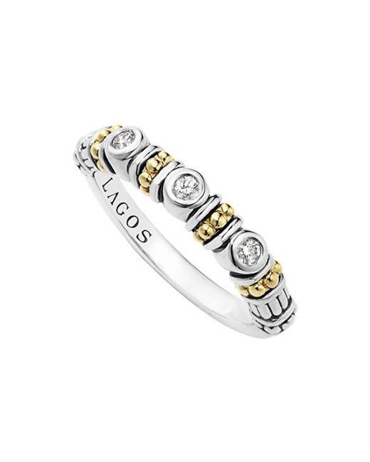 Lagos | Metallic Three Diamond Stacking Ring | Lyst