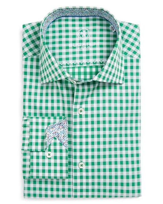 Bugatchi shaped fit gingham dress shirt in green for men for Mens green gingham dress shirt