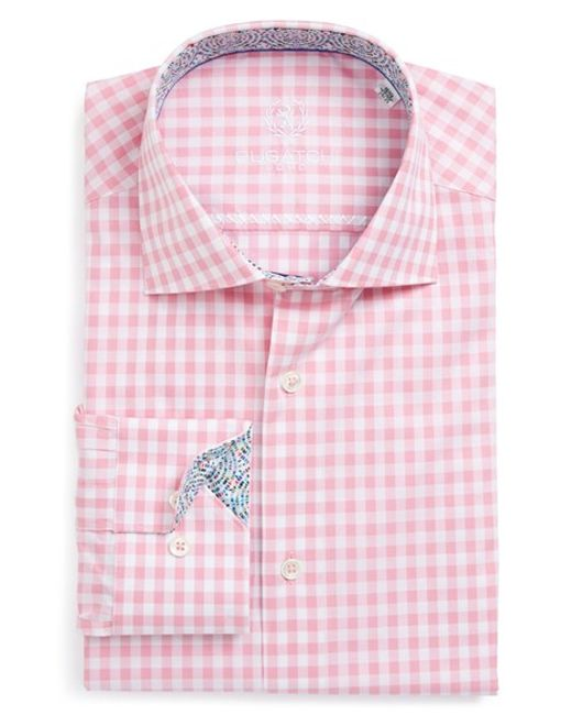 Bugatchi shaped fit gingham dress shirt in red for men for Men s red gingham dress shirt