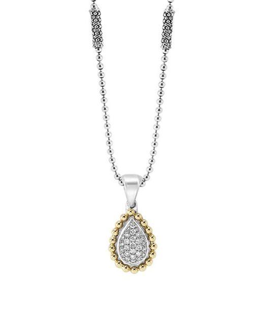 Lagos | Metallic Diamond Caviar Pendant Necklace | Lyst