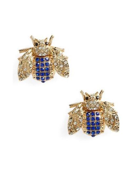 TOPSHOP - Blue Rhinestone Insect Stud Earrings - Lyst