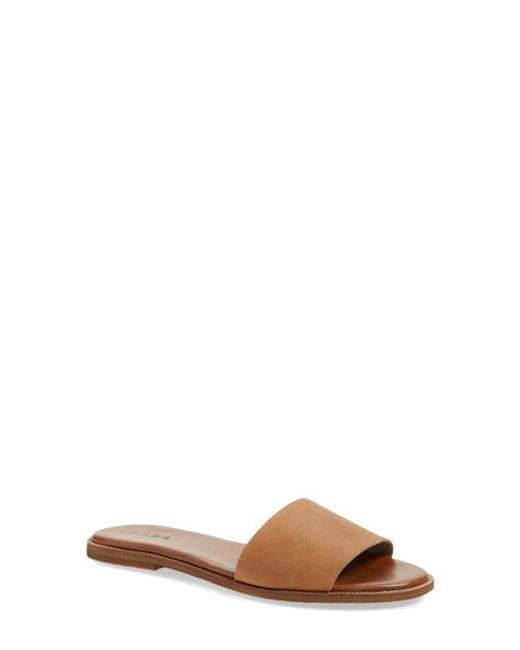 Hinge Mere Flat Slide Sandal In Beige Cognac Leather