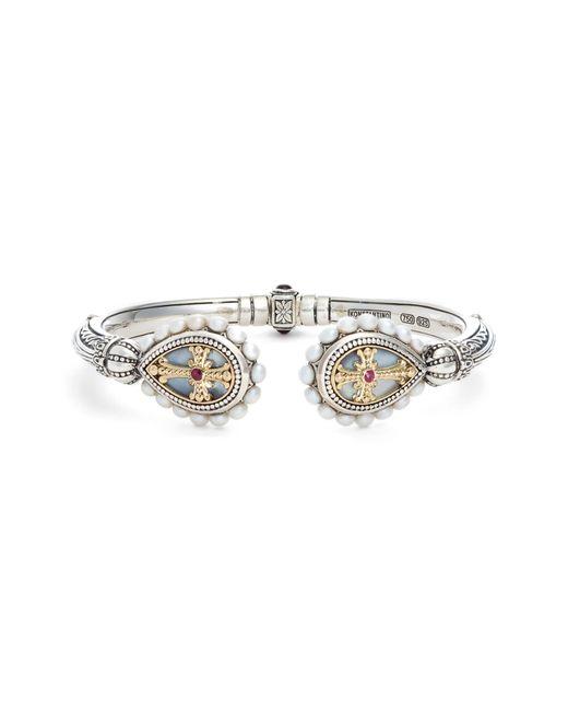 Konstantino Metallic Etched Sterling Pearl & Ruby Hinged Bracelet