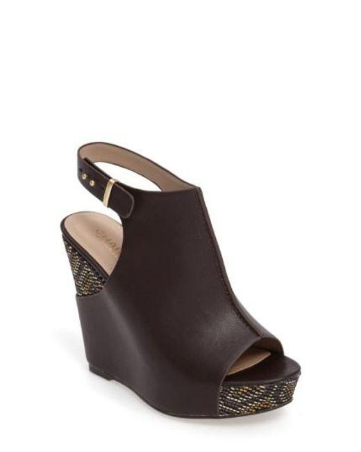 Charles by Charles David | Brown Ames Platform Wedge Sandal | Lyst