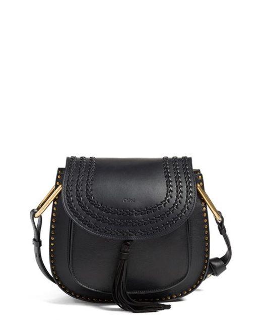 Chlo�� Hudson Medium Tassel Leather Shoulder Bag in Black | Lyst