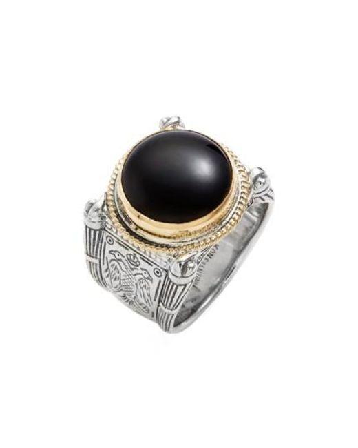 Konstantino | Metallic 'minos' Etched Black Onyx Ring | Lyst