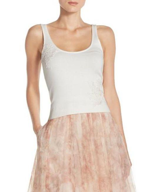 Jenny Yoo   White 'cora' Lace Detail Tank   Lyst
