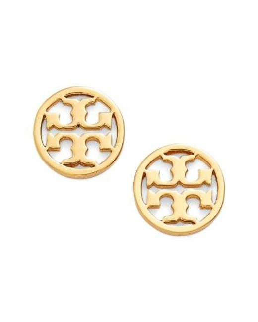 Tory Burch | Metallic Circle Logo Stud Earrings | Lyst