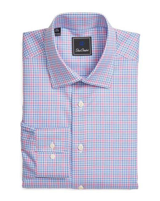 David Donahue Regular Fit Plaid Dress Shirt In Blue For
