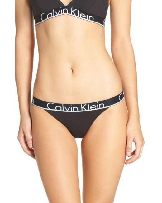 Calvin Klein | Black Logo Cotton Tanga | Lyst
