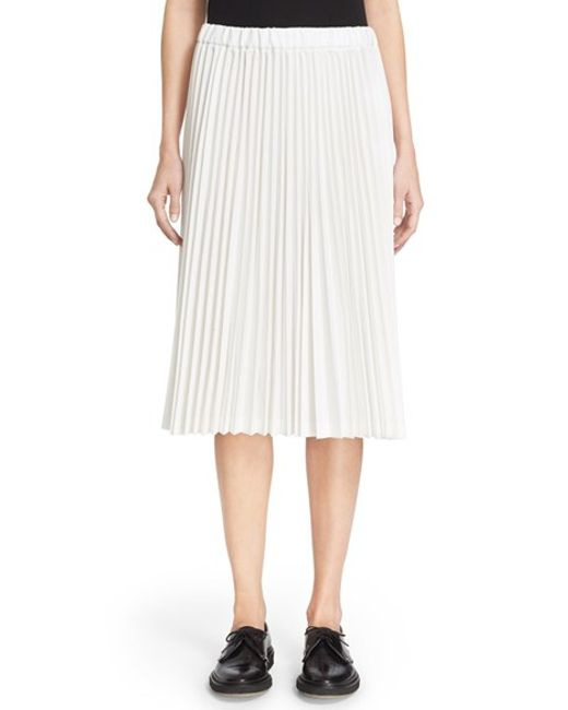 comme des gar 231 ons tropical pleated midi skirt in white