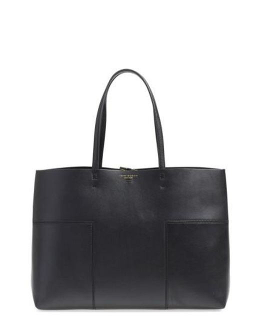 Tory Burch | Black 'block-t' Leather Tote | Lyst