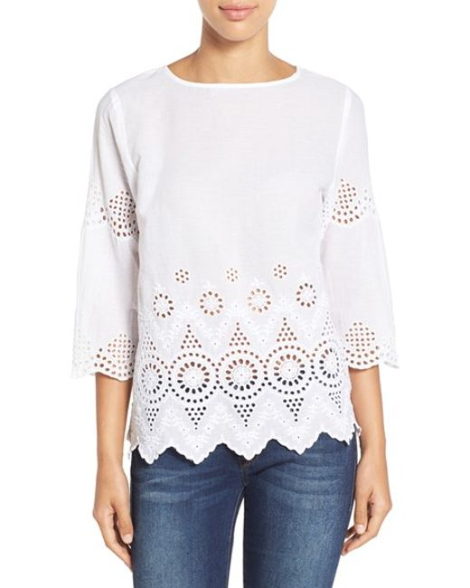 Tommy Bahama Cotton Eyelet Top In White Lyst