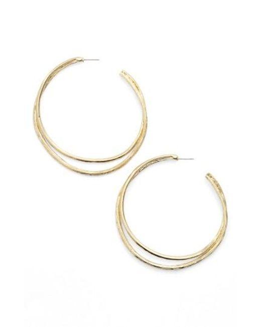 Karine Sultan | Metallic Split Hoop Earrings | Lyst