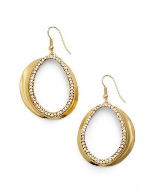 Karine Sultan   Metallic Crystal Front Hoop Earrings   Lyst