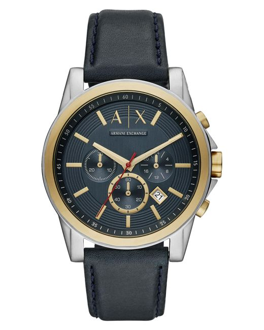 Armani Exchange - Metallic Chronograph Leather Strap Watch for Men - Lyst