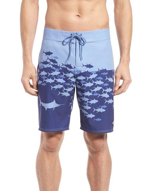 Vineyard vines 39 fish chain 39 board shorts in blue for men for Fishing board shorts