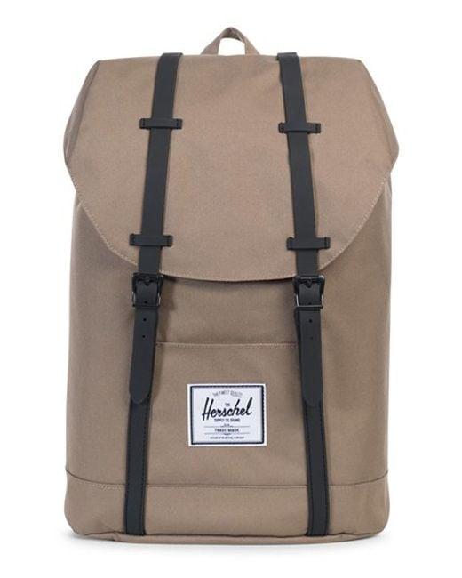 herschel supply co 39 retreat 39 backpack in beige lead green black save 25 lyst. Black Bedroom Furniture Sets. Home Design Ideas
