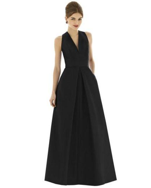 Alfred Sung | Black V-Neck Dupioni-Silk Dress | Lyst