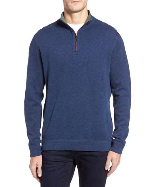 Tommy Bahama | Gray Flip Side Reversible Quarter Zip Twill Pullover for Men | Lyst
