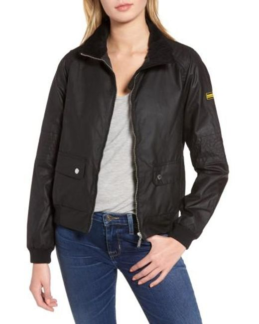 Barbour | Black Tain Waxed Bomber Jacket | Lyst