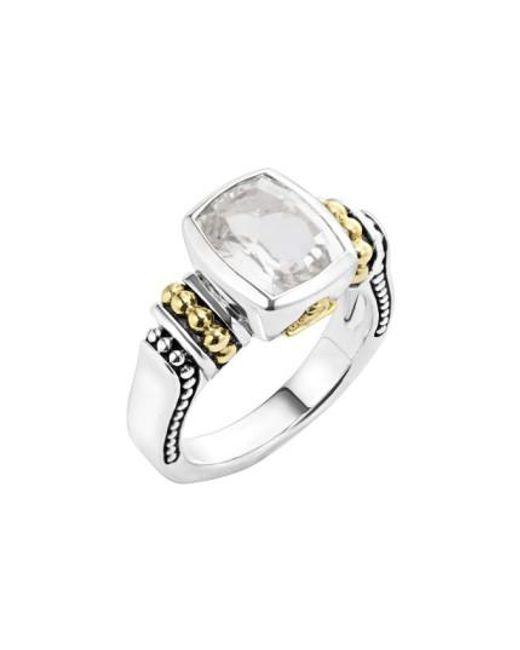Lagos | Metallic 'caviar Color' Small Semiprecious Stone Ring | Lyst