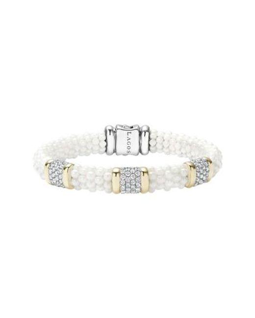 Lagos   'white Caviar' Three Station Diamond Bracelet   Lyst