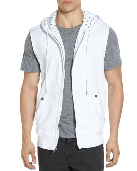 true religion sleeveless hoodie in white for men lyst