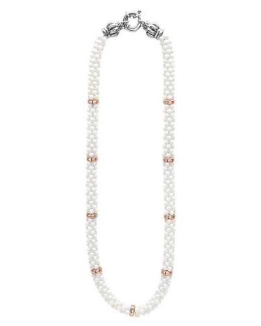 Lagos   Metallic 'white Caviar' 7mm Beaded Station Necklace   Lyst