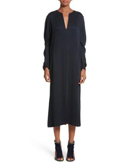 Zero + Maria Cornejo - Black Eco Drape Midi Dress - Lyst