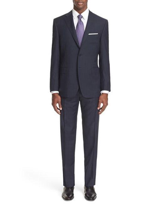 Canali 13000 Classic Fit Windowpane Wool Suit In Blue