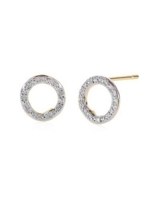 Monica Vinader | White 'riva' Circle Stud Diamond Earrings | Lyst