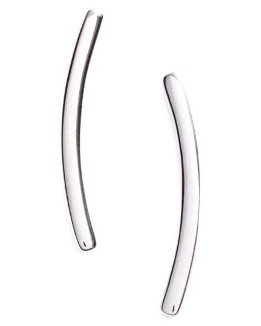 Nadri   Metallic Curved Bar Stud Earrings   Lyst