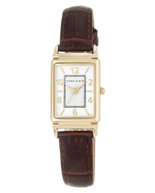 Anne klein leather strap watch in gold brown white lyst for Anne klein leather strap