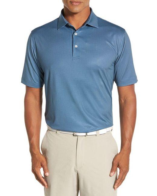 Peter millar 39 vapor 39 check stretch microfiber golf polo in for Peter millar golf shirts