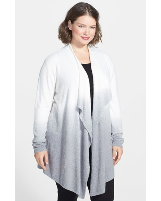 Barefoot Dreams | Gray Barefoot Dreams Drape Front Cardigan | Lyst