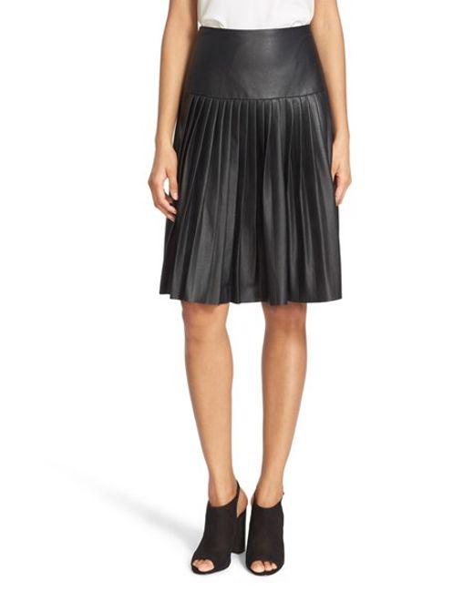 faux leather pleated drop yoke skirt in
