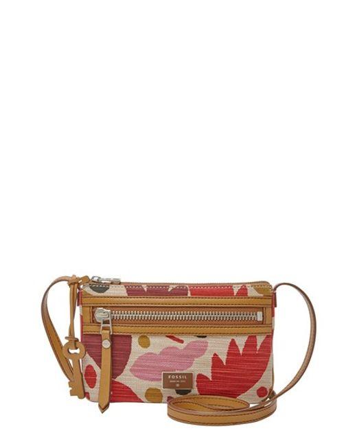 Fossil U0026#39;dawsonu0026#39; Leather Crossbody Bag In Floral (PINK FLORAL) | Lyst