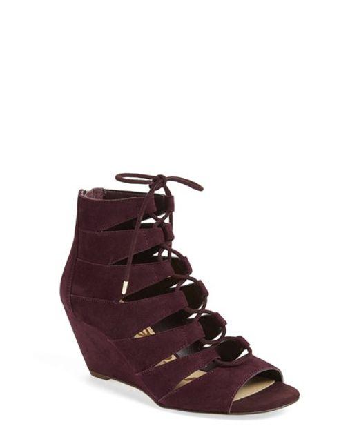 sam edelman santina lace up wedge sandals in port