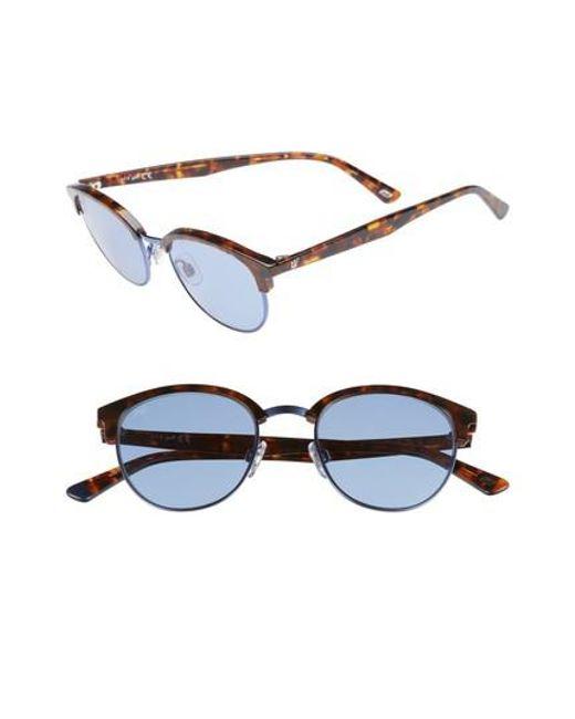Web - Blue 49mm Half Rim Sunglasses - Lyst