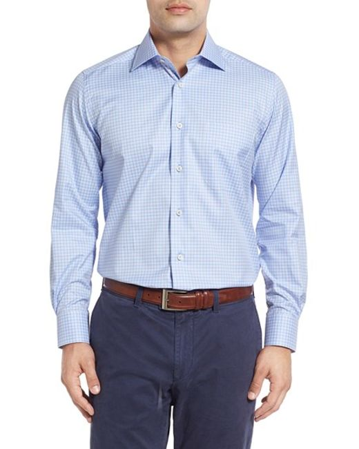 David Donahue Regular Fit Plaid Sport Shirt In Blue For