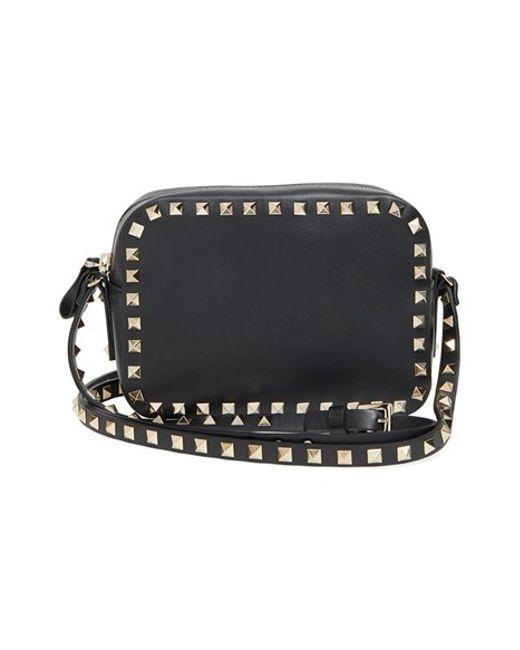Valentino rockstud Calfskin Leather Camera Crossbody Bag in Black ...
