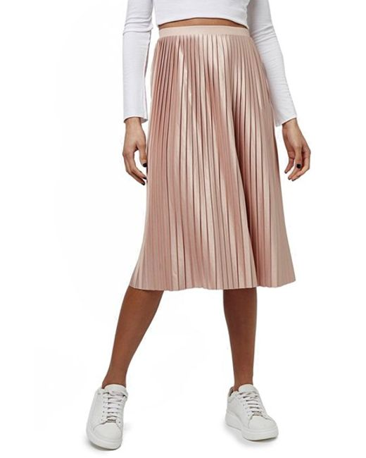 topshop pleated jersey midi skirt in pink lyst