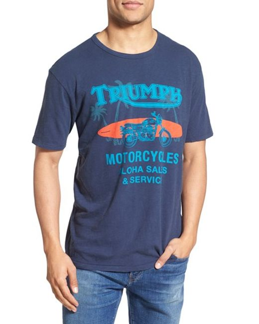 Lucky Brand 39 Triumph Motorcycles 39 T Shirt In Blue For Men