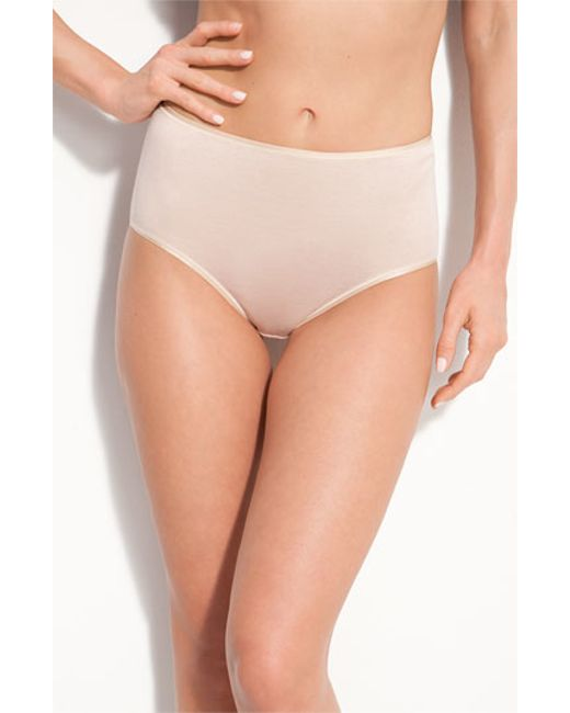 Hanro | Natural Seamless Cotton Full-cut Briefs | Lyst