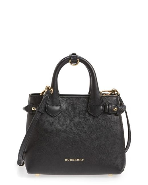 Burberry | Black 'mini Banner' House Check Leather Tote | Lyst