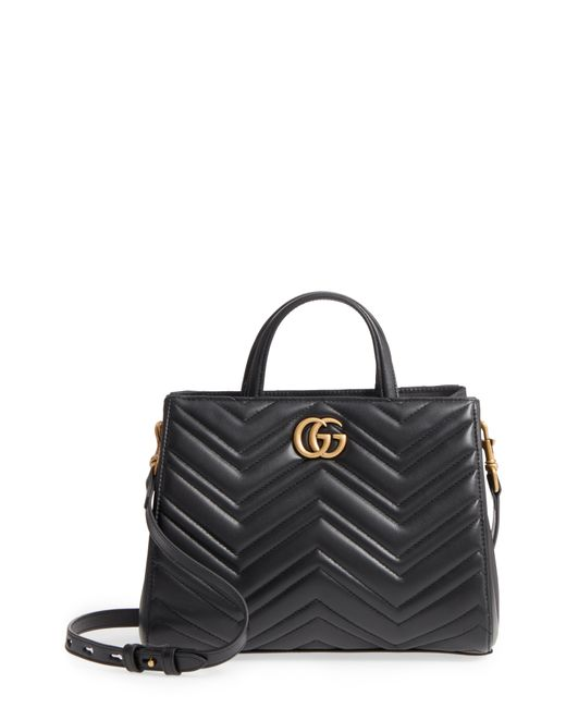 Gucci - Black Gg Small Marmont 2.0 Matelasse Leather Top Handle Satchel - Lyst