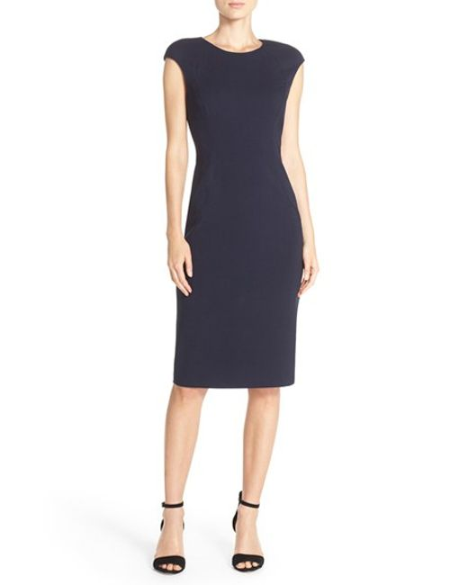 Eliza J   Blue Cap Sleeve Crepe Sheath Dress   Lyst