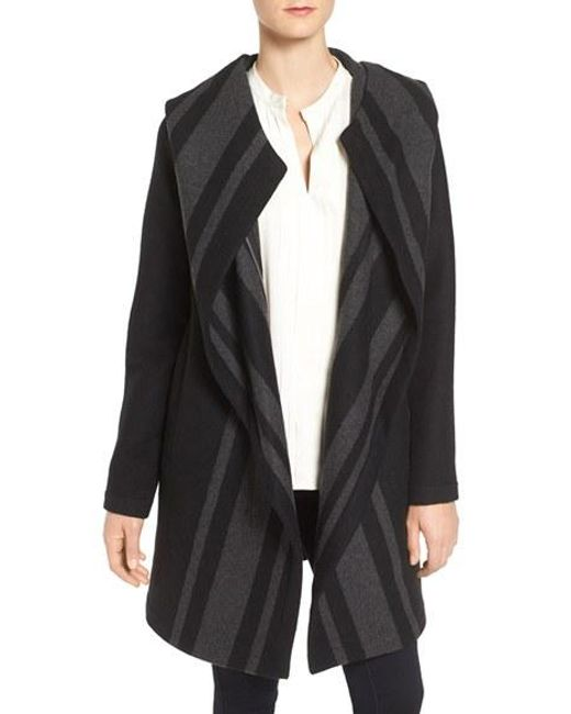 Vince Camuto | Black Faux Fur Trim Asymmetric Front Coat | Lyst