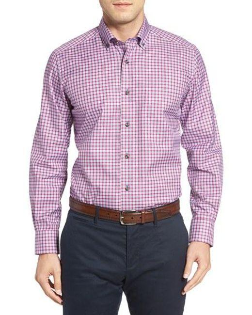 David Donahue Plaid Sport Shirt In Purple For Men Lyst